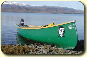 Canoe with motor